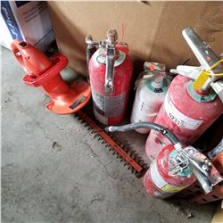 LOT OF 4 FIRE EXTINGUISHERS AND BLACK AND DECKER ELECTRIC TRIMMER