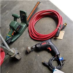 SKILL SAW, HEDGE TRIMMER, AND AIR HOSE - ALL WORKING