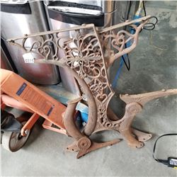 PAIR OF METAL BENCH ENDS