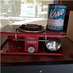 COLEMAN LP GAS PICNIC STOVE AND KAND ICE