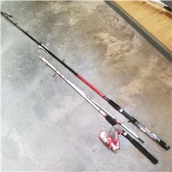 OFFSHORE ANGLER FISHING ROD AND REEL AND BASS PRO SHOP FISHING ROD, BOTH AS IS, BROKEN TIPS