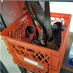 CRATE OF 2 TRAILER HITCHES CROWBAR AND SAWS