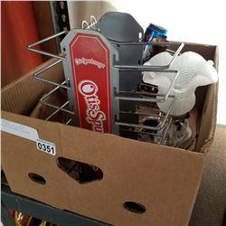 BOX OF METAL DECOR MINI SHOPPING CART BRASS UNICORN