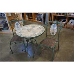 ROUND STONE TOP PATIO TABLE AND 2 CHAIRS