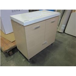 LIGHT FINISH BATHROOM CABINET WITH SINK