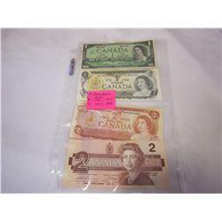 4 CANADIAN BILL $1 1967,1973 $2 1974, 1986