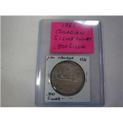 1961 CANADIAN SILVER DOLLAR .800 SILVER