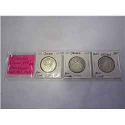 3 CANADIAN SILVER 50C COINS .800 SILVER 1962, 1963, 1964
