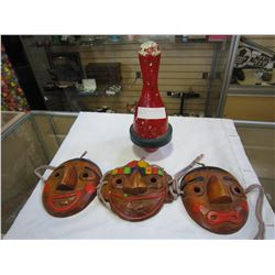 CARVED WOOD MASKS AND VINTAGE BOWLING PIN