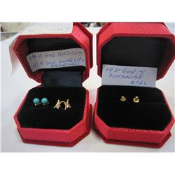 3 PAIRS OF KARAT GOLD EARRINGS