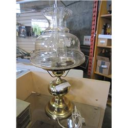 BRASS AND GLASS COLONIAL LAMP