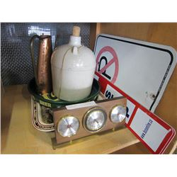 WHISKEY JUG, 3 METAL TRAYS AND COPPER JUG