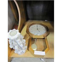 INGRAHAM WESTMINSTER CHIME WOOD CLOCK AND DECORATIVE CANDLE