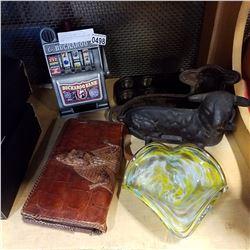 BUCKAROO SLOT MACHINE, ART GLASS DISH W/ VINTAGE MOLD AND TINS