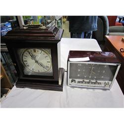 KENSINGTON MANTLE CLOCK AND VINTAGE RADIO