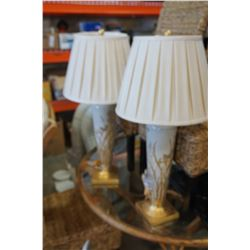 2 PAINTED TABLE LAMPS W/ SHADES