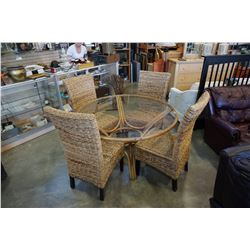 ROUND RATTAN GLASS TOP PATIO TABLE W/ 4 CHAIRS
