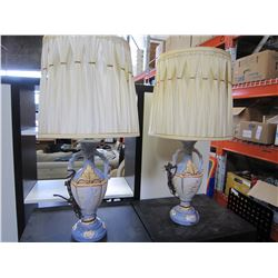PAIR OF PORCELAIN SIGNED TABLE LAMPS