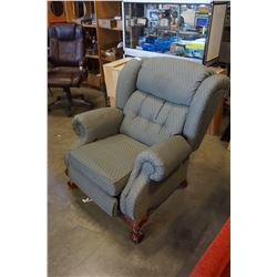 GREEN BUTTON BACK RECLINER WINGBACK CHAIR