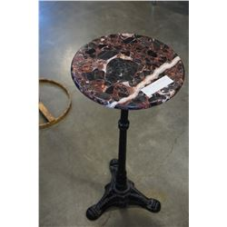 MARBLE TOP CAST IRON BASE WINE TABLE