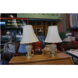 2 TABLE LAMPS - BEIGE AND BRASS