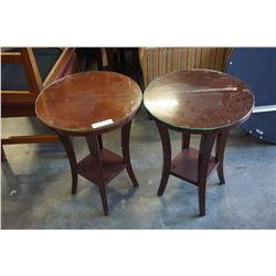 PAIR OF ROUND MAHOGANY FINISH END TABLES