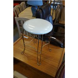 BRASS AND WHITE VANITY STOOL