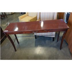 MAHOGANY FINISH GLASS TOP SOFA TABLE