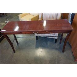 MAHOGANY FINISH GLASS TOP SOFA TABLE