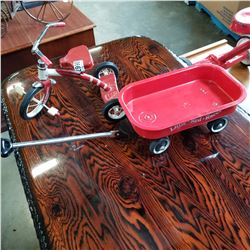 SMALL TOY SPEEDWAY SERIES TRICYCLE AND LITTLE RED RACE WAGON