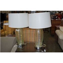 PAIR OF GREEN GLASS TABLE LAMPS
