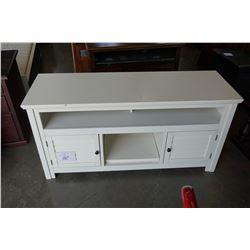 ASHLEY FLOOR MODEL WHITE 60 INCH TV CABINET, RETAIL $1199
