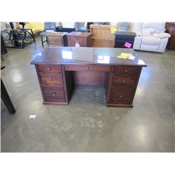 NEW SOLID MAPLE 7 DRAWER OFFICE DESK, FINISHED BACK, DOVETAILED DRAWERS, EXTENSION DRAWER GLIDES, AN