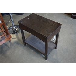 ASHLEY FLOOR MODEL DARK CHAIR SIDE ENDTABLE WITH POWER/USB OUTLETS, RETAIL $499