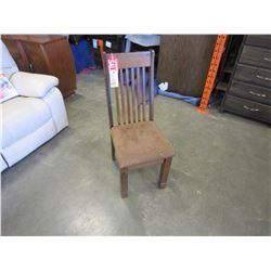 NEW PINE KONA VERTICAL SLAT BACK, TAN MICROFIBER UPHOLSTERED SEAT, CORNER BLOCKED AND ROAST STAIN -