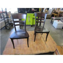 NEW PAIR OF MAPLIE MALIA WOOD SEAT CHAIRS, LOCALLY MADE CORNED BLOCKED AND HICKORY STAIN - WHOLESALE