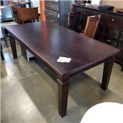 NEW SOLID EASTERN MAPLE LIBRARY TABLE, 1.5 INCH THICK TOP, 4 INNCH TAPERED LEGS, HICKORY STAIN, CRAF