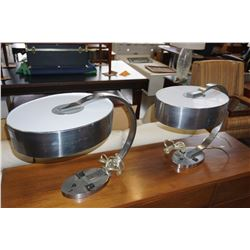 PAIR OF MODERN CHROME TABLE LAMPS W/ OUTLETS