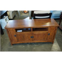 ASHLEY FLOOR MODEL MISSION OAK 60 INCH TV CABINET WITH STORAGE, RETAIL $799