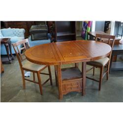 ASHLEY FLOOR MODEL MISSION OAK PUB HEIGHT TABLE WITH EXTENSION AND 2 STOOLS, RETAIL $1199
