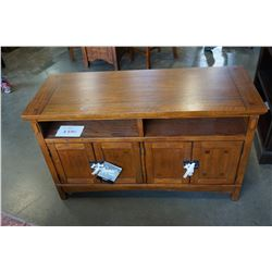 ASHLEY FLOOR MODEL MISSION OAK 4 FOOT TV CABINET, RETAIL $699