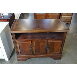 ASHLEY FLOOR MODEL 3 DOOR DARK MAHOGANY FINISH TV CABINET, RETAIL $699