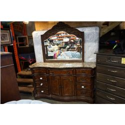 ASHLEY MILLENIUM FLOOR MODEL DRESSER WITH STONE TOP AND MIRROR, RETAIL $1899