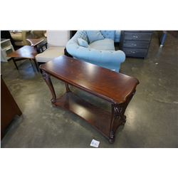 ASHLEY FLOOR MODEL DARK MAHOGANY FINISH SOFA TABLE RETAIL $599