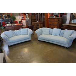 ASHLEY FLOOR MODEL TUFTED FABRIC SOFA AND LOVESEAT WITH 5 PILLOWS, RETAIL $2889