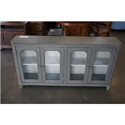 ASHLEY RUSTIC GREY 4 GLASS DOOR ACCENT CABINET, RETAIL $1,099