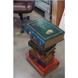 DECORATIVE STACK OF BOOKS END TABLE W/ 1 DRAWER