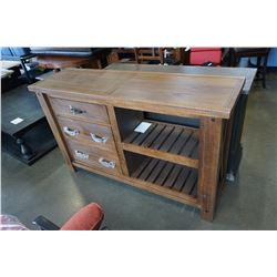 ASHLEY FLOOR MODEL RUSTIC RECLAIMED LOOK 3 DRAWER OPEN SERVING CABINET, RETAIL $1649