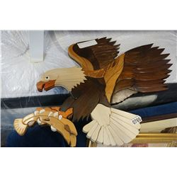 CARVED WOOD EAGLE WALL ART
