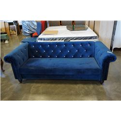 ASHLEY SIGNATURE BLUE VELVETY CLUB STYLE COUCH WITH TUFTED BACK AND NAIL HEAD ACCENTS, RETAIL $1999